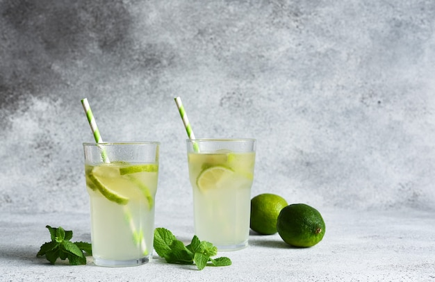 Tè freddo al lime. limonata fredda con lime su uno sfondo di cemento.