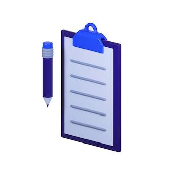 Icona della lista di controllo con la matita isolata su bianco