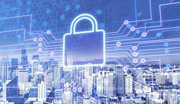 Icona città serratura digitale internet delle cose sfondo del computer