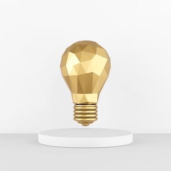 L'icona è una lampadina dorata a basso numero di poligoni su un piedistallo bianco. rendering 3d.