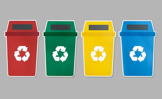 Set di icone di cestino con simbolo di riciclo