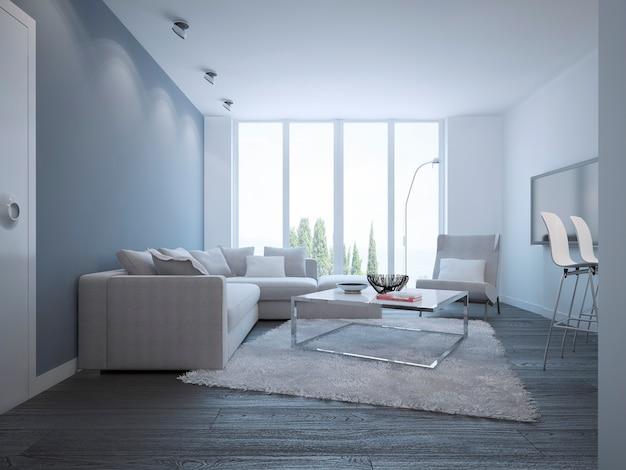 Idea di luminoso soggiorno minimalista elegante camera con mobili bianchi