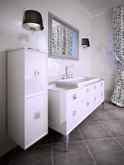 Idea di arredo per bagno. rendering 3d