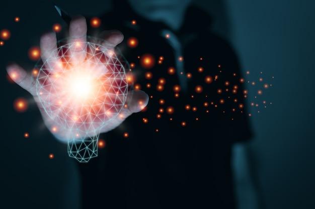 Idea e concetto di business dell'innovazione, ispirazione e digitale e correlati, luce per computer grafica, spazio copia per testo e banner individuali
