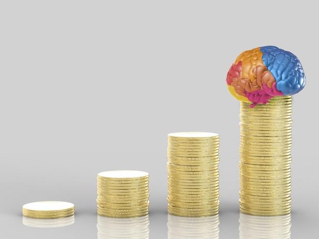 L'idea crea il concetto di denaro con cervello colorato e monete d'oro