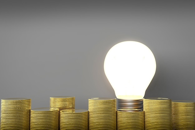 L'idea fa il concetto di denaro con lampadina e monete