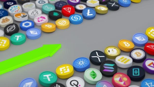 L'idea di posizionare una moneta multicolore cryptocurrency 3d illustration
