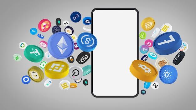 L'idea di posizionare una moneta multicolore criptovaluta con l'illustrazione 3d dello smartphone