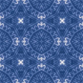 Ikat sfondo. modello senza cuciture blu. ornamento etnico dell'acquerello.