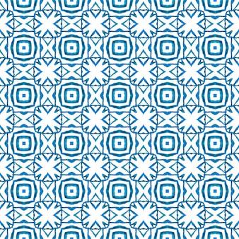 Ikat ripetendo il design del costume da bagno. blu affascinante design estivo boho chic. stampa in grassetto pronta per tessuti, tessuto per costumi da bagno, carta da parati, involucro. bordo delle mattonelle ripetuto ikat dell'acquerello.
