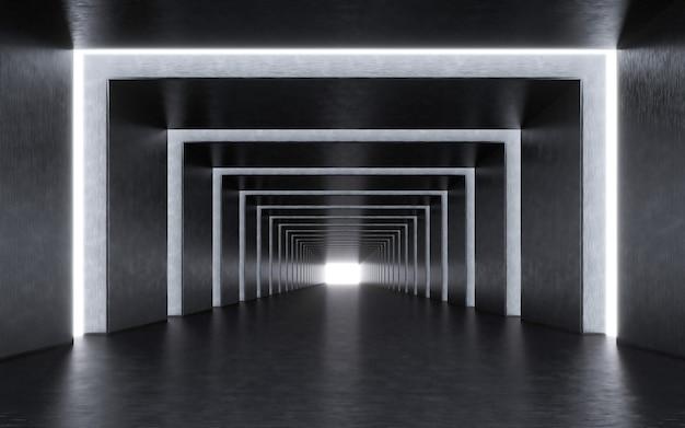 Interno del corridoio illuminato. rendering 3d