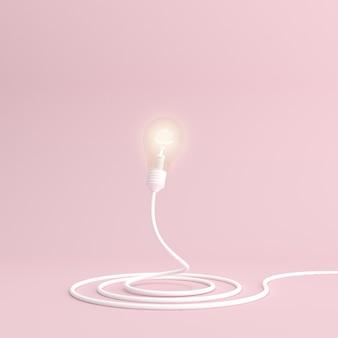 Lampadina illustrata su sfondo rosa stile minimal