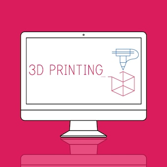 Illustrazione della tecnologia di innovazione dell'artigianato di stampa 3d