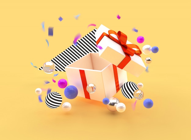L'illustrazione di 3d rende le palle del contenitore della bandiera di promozione di festa del regalo