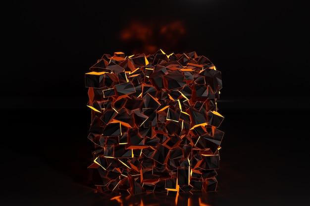 Illustrazione di righe 3d, sfondo geometrico, trama simile a pezzi di carbone ardente. rettangoli e quadrati di metallo. picchiettio su uno sfondo monocromatico, pattern.