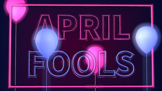 Illustrazione di sfondo astratto april fools day con luce al neon