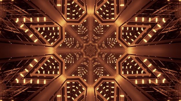 Illustrazione di sfondo astratto del tunnel simmetrico a forma di stella con una brillante luce seppia