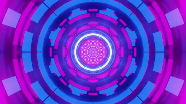 Illustrazione dell'ornamento geometrico astratto incandescente con luce al neon all'interno del tunnel simmetrico rotondo