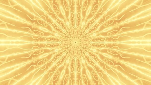 Illustrazione dell'ornamento simmetrico astratto con fasci luminosi che brillano di luce al neon gialla