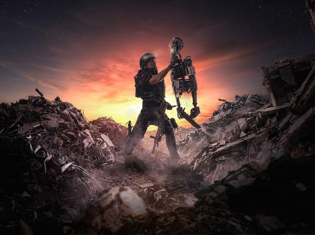 Illustrazione di una scena apocalittica di un soldato che tiene un robot in guerra
