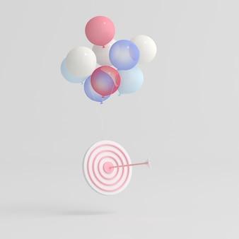L'illustrazione della freccia ha colpito il centro del bersaglio galleggiante con palloncini, concetto di affari. rendering 3d.
