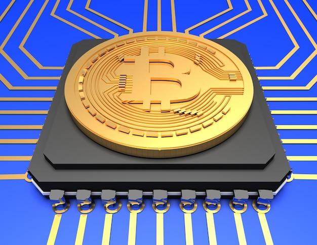 Illustrazione di bitcoin su sfondo. 3d reso illustrazione
