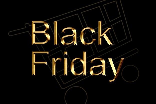 Illustrazione, vendita del black friday. banner, poster, logo colore dorato su sfondo scuro.