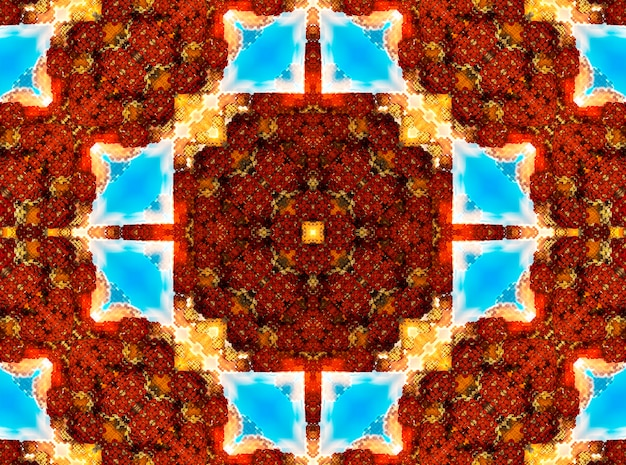 Illustrazione di un caleidoscopio frattale luminoso di razzi e sole con spirali.