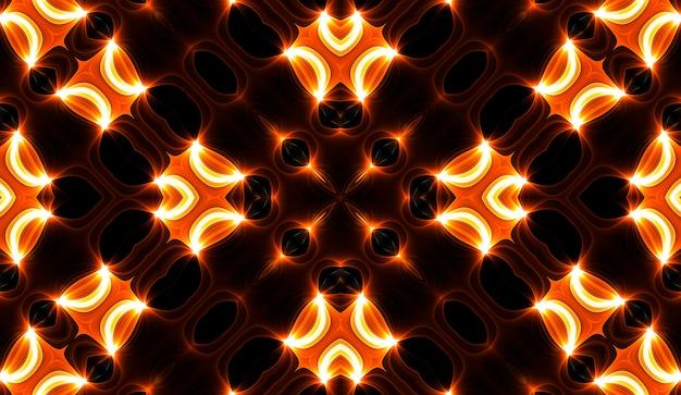 Illustrazione di un caleidoscopio frattale luminoso di bagliori e sole con spirali