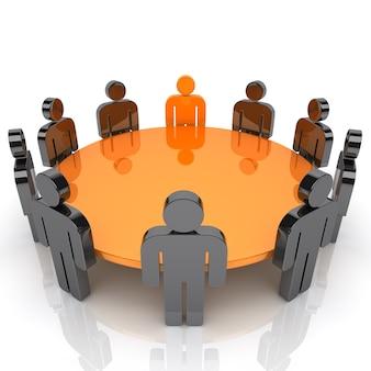 Illustrazione della riunione di lavoro con il personale e personaggi leader