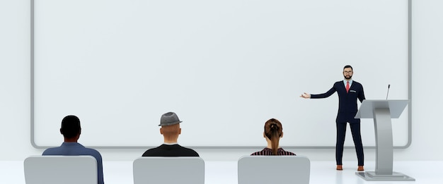 Illustrazione della presentazione aziendale di fronte a persone su sfondo bianco, rendering 3d