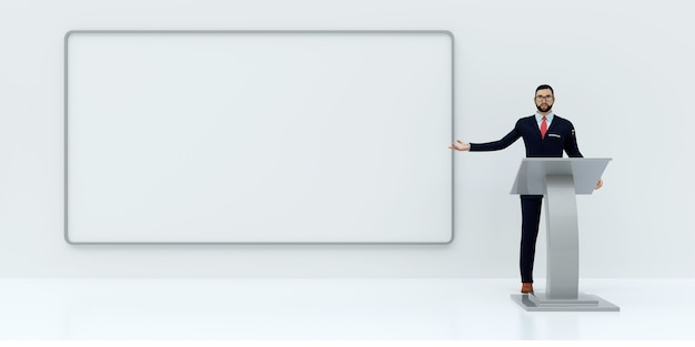 Illustrazione della presentazione aziendale su sfondo bianco, rendering 3d