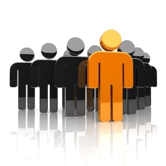 Illustrazione del team aziendale con carattere leader