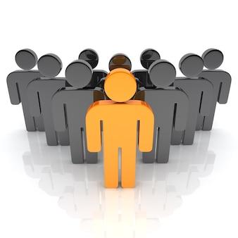 Illustrazione del team aziendale con personaggi leader