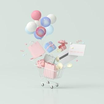 Illustrazione del carrello con palloncini e carta di credito, scatole regalo, monete, borse della spesa, rendering 3d.
