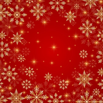 Illustrazione sfondo rosso di natale e capodanno con fiocchi di neve dorati.