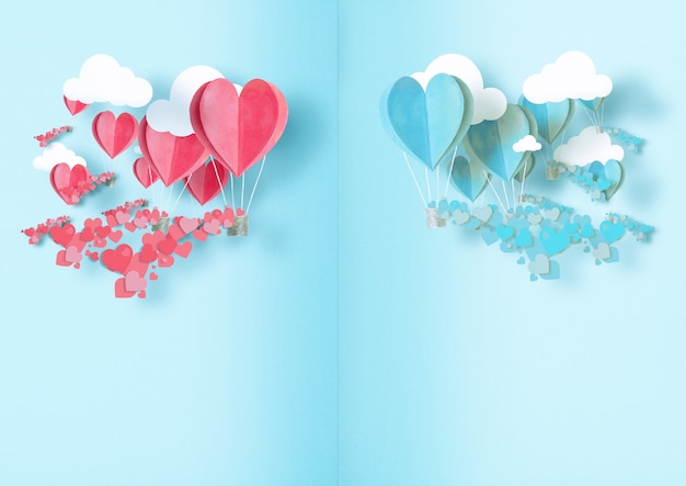 Illustrazione al giorno di tutti gli innamorati. palloncini di colore azzurro e rosa sono sparsi intorno a loro piccoli cuoricini.