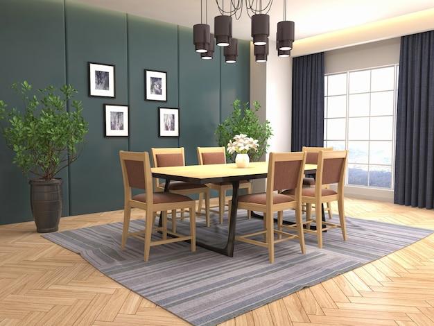 Illustrazione dell'interno della sala da pranzo