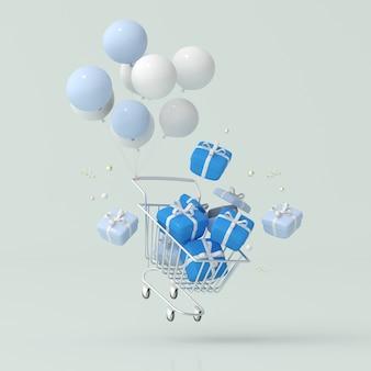 Illustrazione di scatole regalo nel carrello con palloncini galleggianti. rendering 3d.