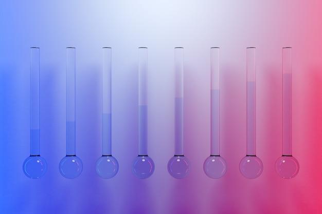 Illustrazione di vetreria con liquidi per analisi di laboratorio