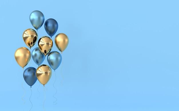Illustrazione di palloncini blu e dorati lucidi su colori pastello.