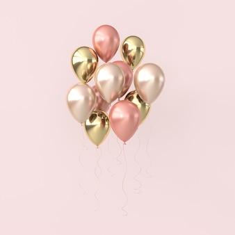 Illustrazione di palloncini rosa e dorati lucidi su colori pastello.