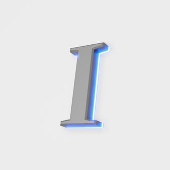 Illustrazione della lettera incandescente j su sfondo bianco. illustrazione 3d
