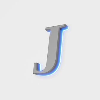 Illustrazione della lettera incandescente su sfondo bianco. illustrazione 3d