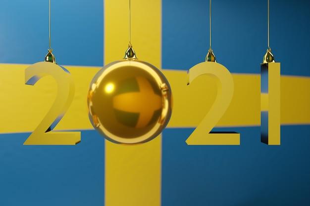Illustrazione felice anno nuovo sullo sfondo della bandiera nazionale della svezia