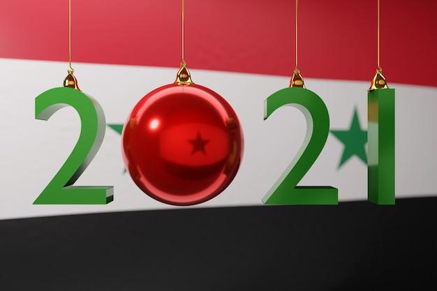 Illustrazione felice anno nuovo sullo sfondo della bandiera nazionale della siria