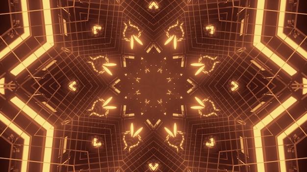 Illustrazione dell'ornamento simmetrico lineare incandescente con luce al neon dorata
