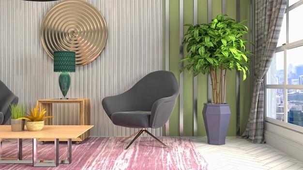 Illustrazione dell'interno del soggiorno
