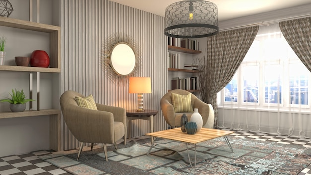 Illustrazione dell'interno del soggiorno Foto Premium