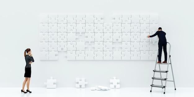Illustrazione di un uomo che crea un'immagine di pezzi di un puzzle, rendering 3d